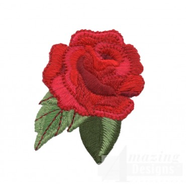 Single Red Rose 2 Embroidery Design