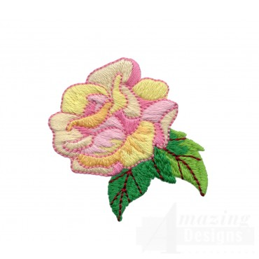 Yellow And Pink Single Rose Embroidery Design