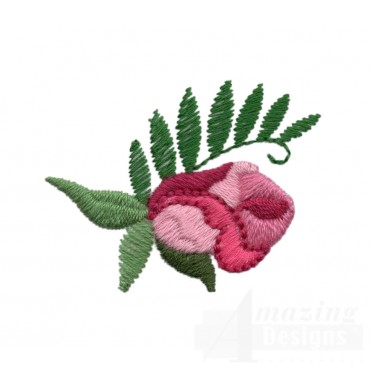 Single Pink Rose 3 Embroidery Design