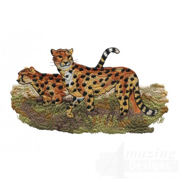 Cheetah Scene Serengeti Pride Embroidery Design