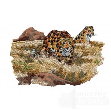 Leopard Scene Serengeti Pride Embroidery Design