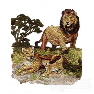 Lion Scene Serengeti Pride Embroidery Design