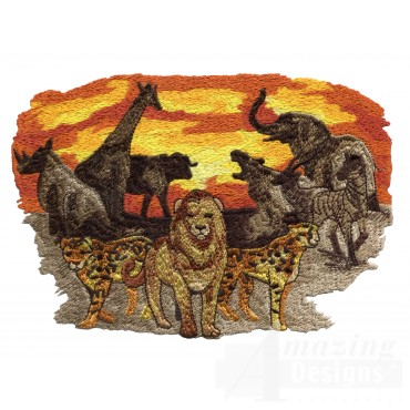 African Full Animal Scene Embroidery Design