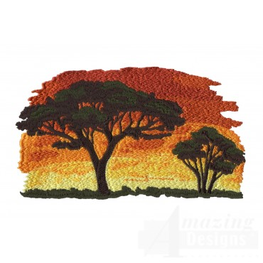 Serengeti Sunset Embroidery Design