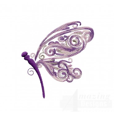 Side Profile Fanciful Dragonfly Embroidery Design