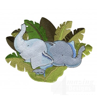 Elephants In Leaves Welcome Home Embroidery Design
