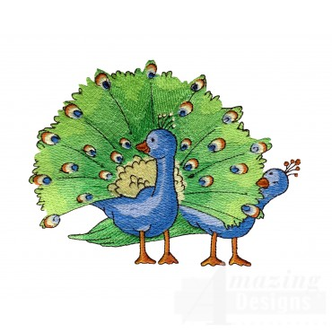 Peacocks Welcome Home Embroidery Design