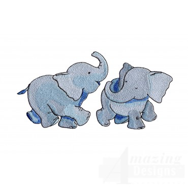 Two Elephants Welcome Home Embroidery Design