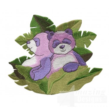 Pandas In Leaves Welcome Home Embroidery Design