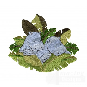 Hippos In Leaves Welcome Home Embroidery Design