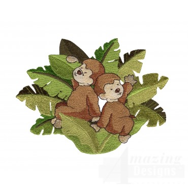 Monkeys In Leaves Welcome Home Embroidery Design
