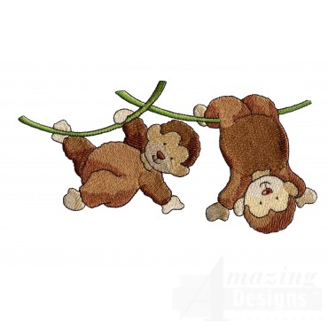 Hanging Monkeys Welcome Home Embroidery Design