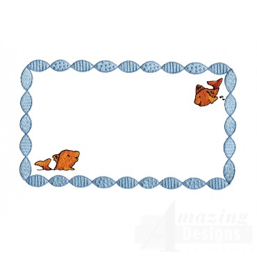 Two Fish In Frame Welcome Home Embroidery Design