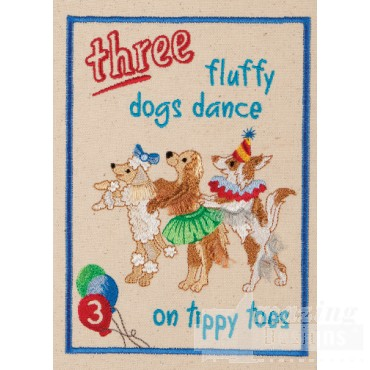 Three Dogs My Circus Book Embroidery Design