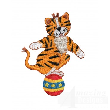 Tiger On Ball My Circus Book Embroidery Design