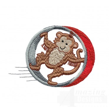 Monkey Roll My Circus Book Embroidery Design