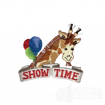 Showtime Giraffe My Circus Book Embroidery Design