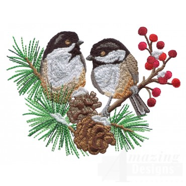 Swnss202 Chickadee Symphony Embroidery Design