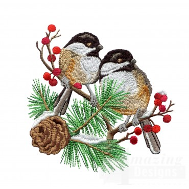 Swnss207 Chickadee Symphony Embroidery Design