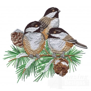 Swnss214 Chickadee Symphony Embroidery Design