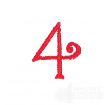 Number 4 Advent Christmas Tree Design