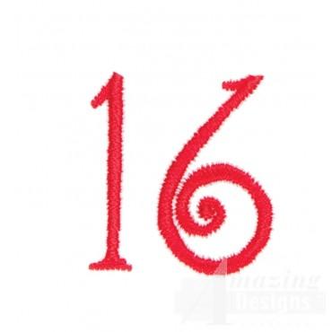 Number 16 Advent Christmas Tree Design
