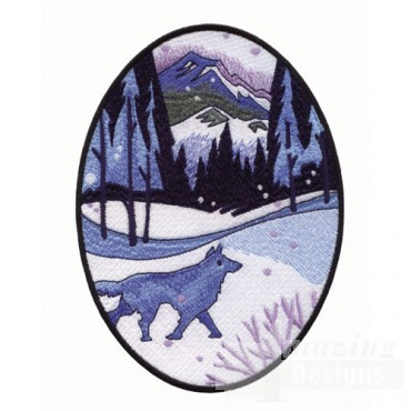 Winter Scene with Wolf