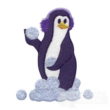 Penguin With Snowballs