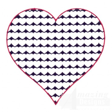 4 Inch Reverse Heart Fill Stitch