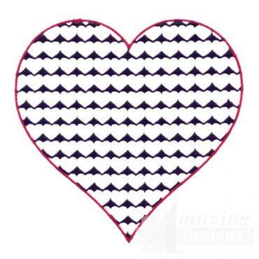 4 Inch Reverse Heart Fill Stitch