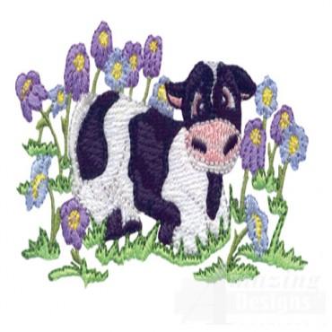 Calf In Flowers