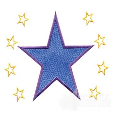 4 Inch Sprinkle Outline Stars
