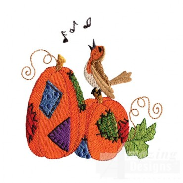 Singing Bird On Pumpkin