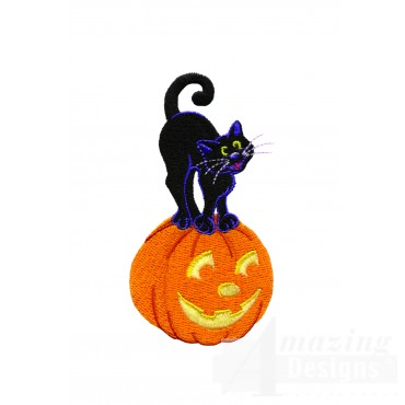 Black Cat On Jack O Lantern