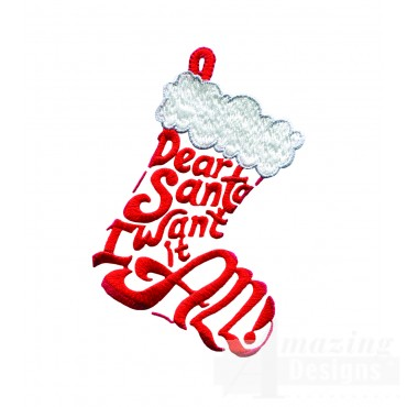 Dear Santa Stocking Embroidery Design