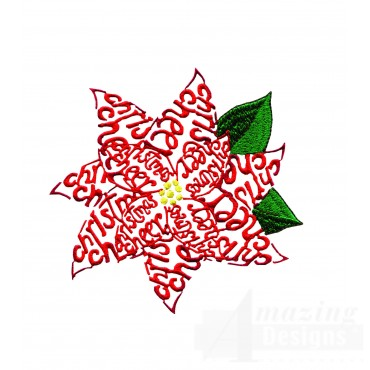 Christmas Cheer Poinsettia Embroidery Design
