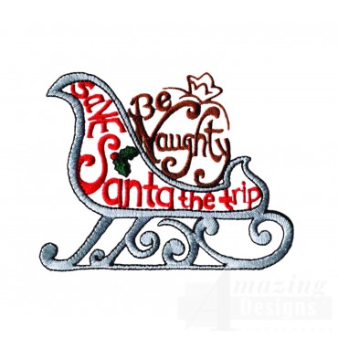 Be Naughty Sleigh Embroidery Design