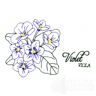 Large Violet Viola Embroidery Design