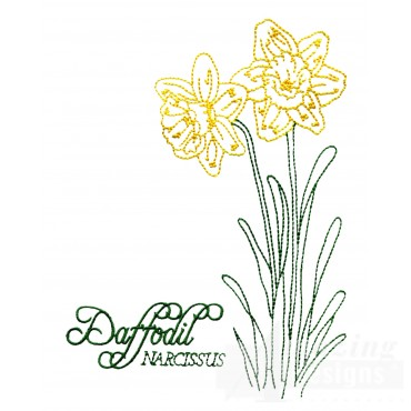 Large Daffodil Narcissus Embroidery Design