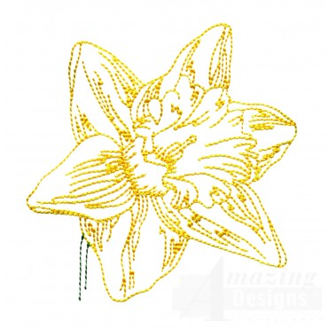 Single Daffodil Narcissus Embroidery Design