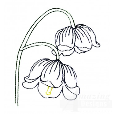 Single Lilly Of The Valley Embroidery Design