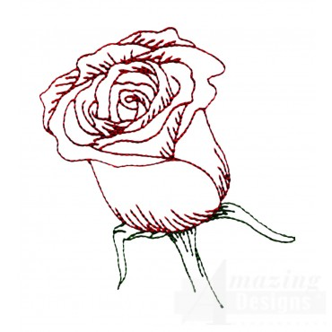 Single Rose Rosa Embroidery Design