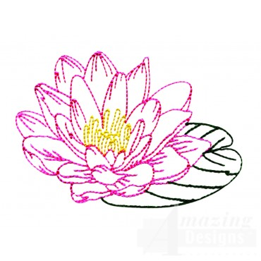 Single Water Lily  Embroidery Design