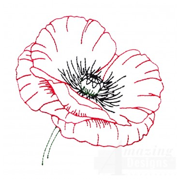 Single Poppy Papaver Rhoeas Embroidery Design