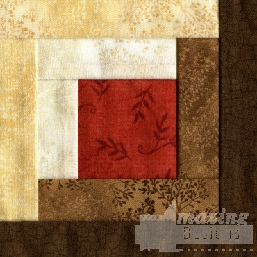 Log Cabin Quilt Block Embroidery Design