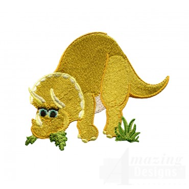 Hungry Triceratops Embroidery Design