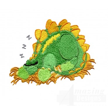 Sleeping Stegosaurus Embroidery Design
