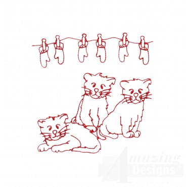 Three Little Kittens Embroidery Design