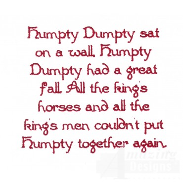 Humpty Dumpty Text Embroidery Design