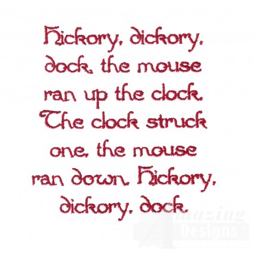 Hickory Dickory Dock Text Embroidery Design